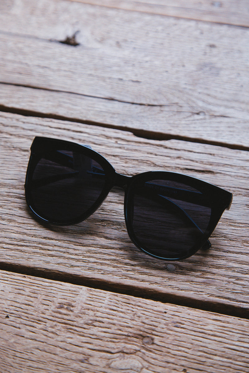 Delanie Large Frame Sunglasses, Black