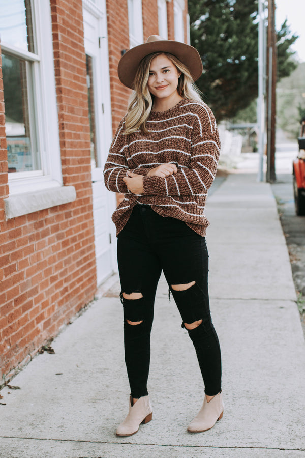 Sacramento Striped Chenille Sweater, Taupe/Cream