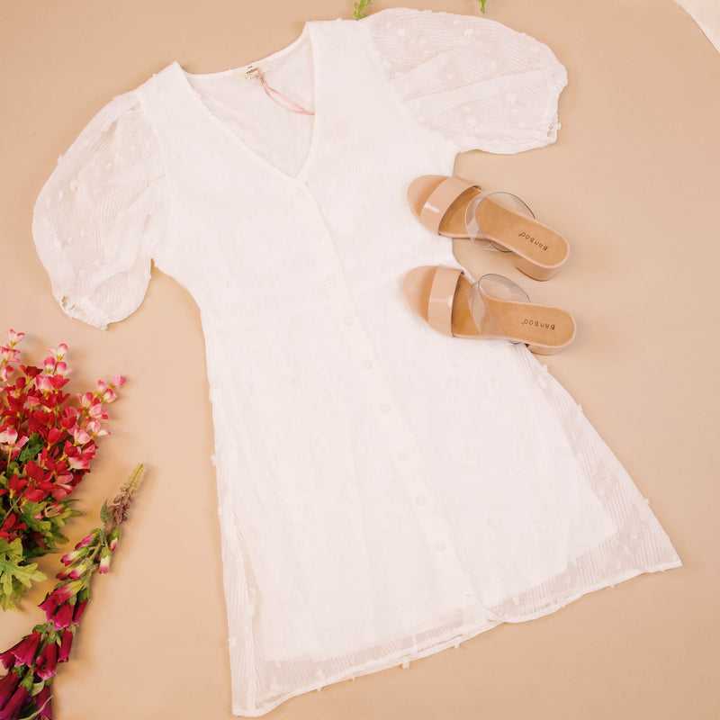 Penelope Puff Sleeve Dress, Off White