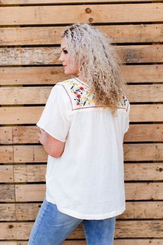 Zig Zag Embroidered Top, Cream | Plus Size
