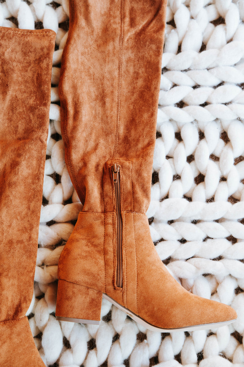 Wynter Faux Suede Over The Knee Boots, Tan