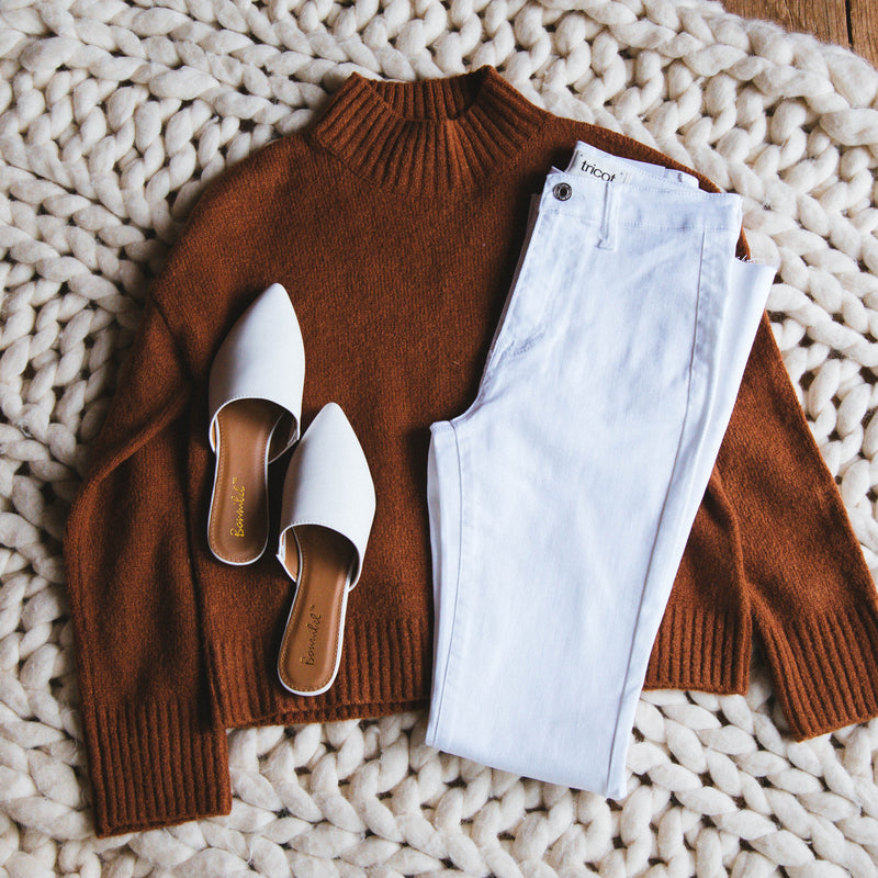 Avila Mock Turtleneck Sweater, Hazelnut