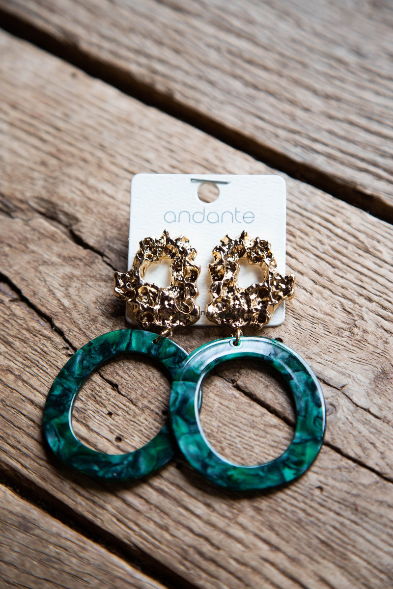 Gold Cluster Resin Oval Earrings, Green/Gold