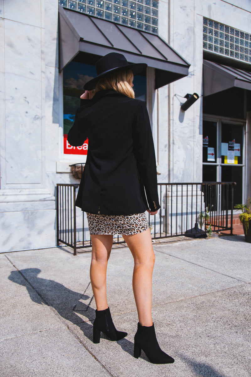 Believe The Hype Knit Bodycon Dress, Taupe Leopard