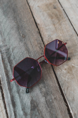 Lucy Octagon Sunnies, Dark Red