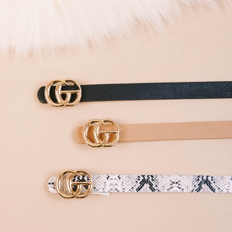 Faux Leather Skinny Belt with Small Gold Buckle, Black Textured