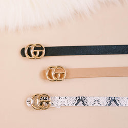 Faux Leather Skinny Belt with Small Gold Buckle, White Snake