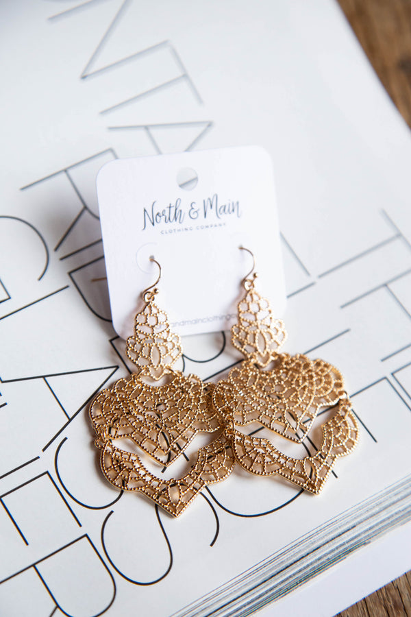 Cutout Design Earring, Gold