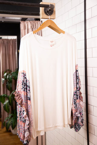 Ruffle Up Her Sleeve, Cream Floral | Women's Plus Size