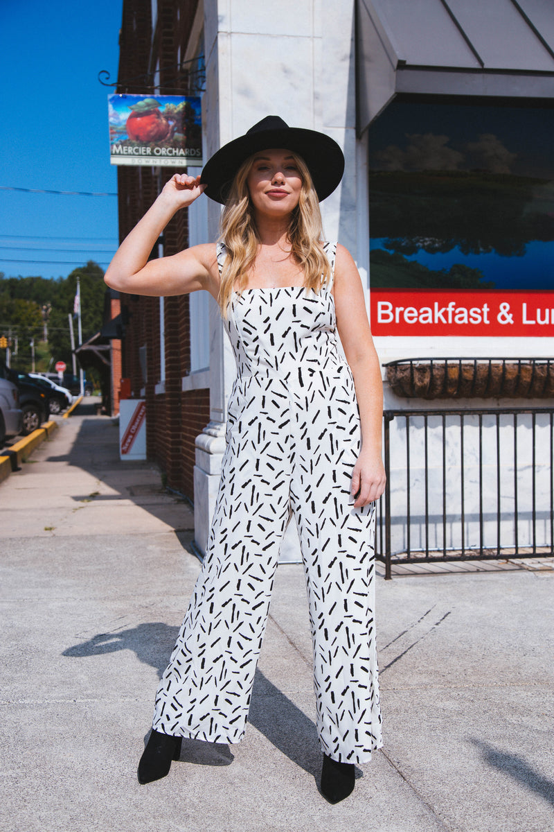Like We Used To Abstract Print Jumpsuit, Ivory/Black
