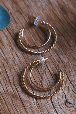 Margie Double Hoop Earrings, Gold