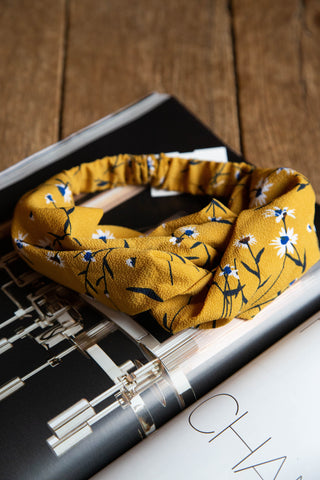 Printed Knot Headband, Yellow/Blue