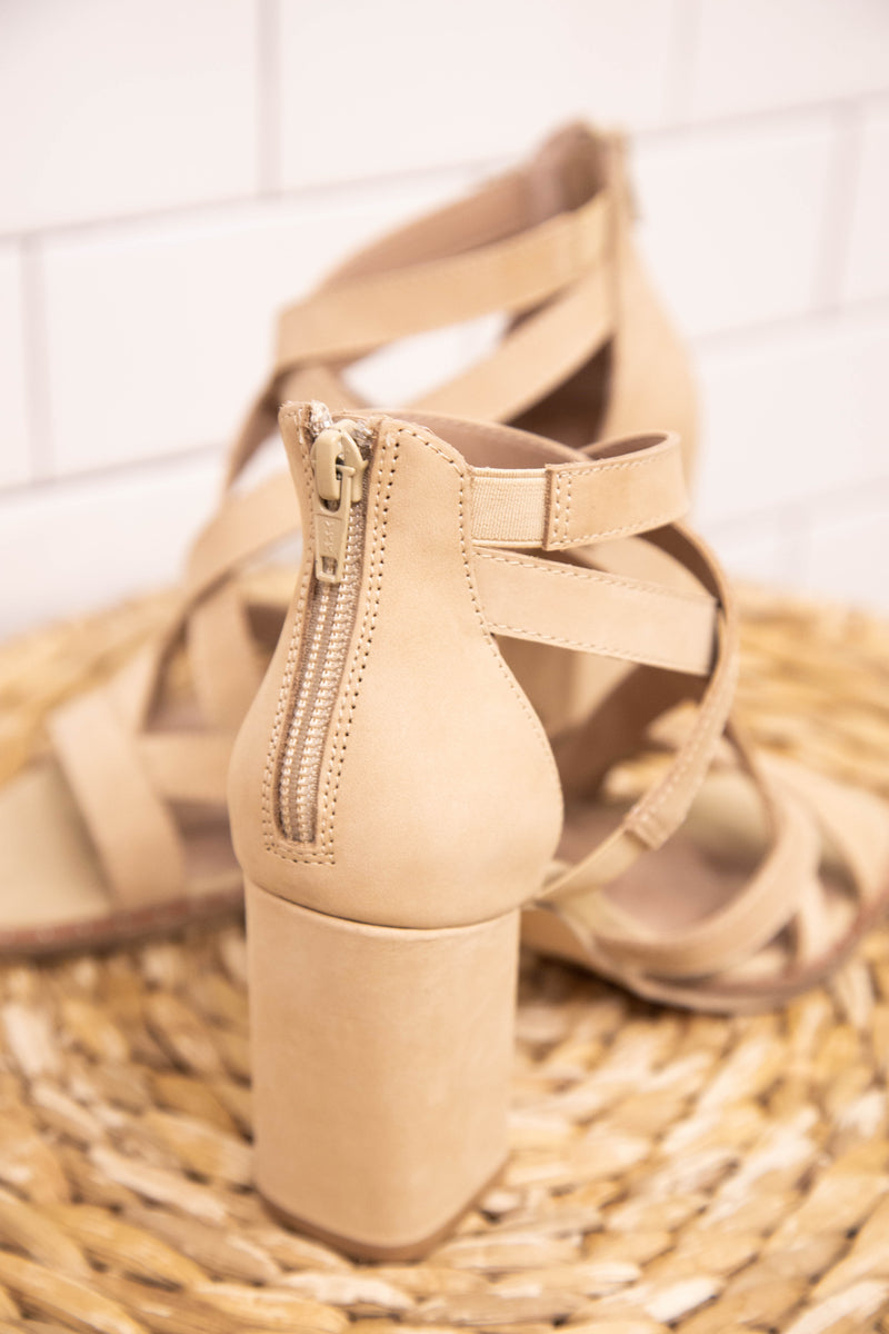 Shawnee Strappy Block Heel Sandal, Cream | Chinese Laundry