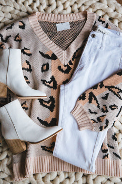 Years From Now Leopard Print Sweater, Light Peach