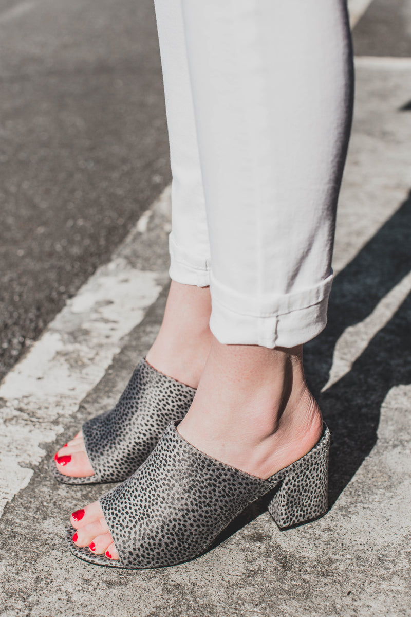 Higher Ground Printed Mule, Grey Leop | Coconuts By Matisse. Quality Brand Names Shoes.