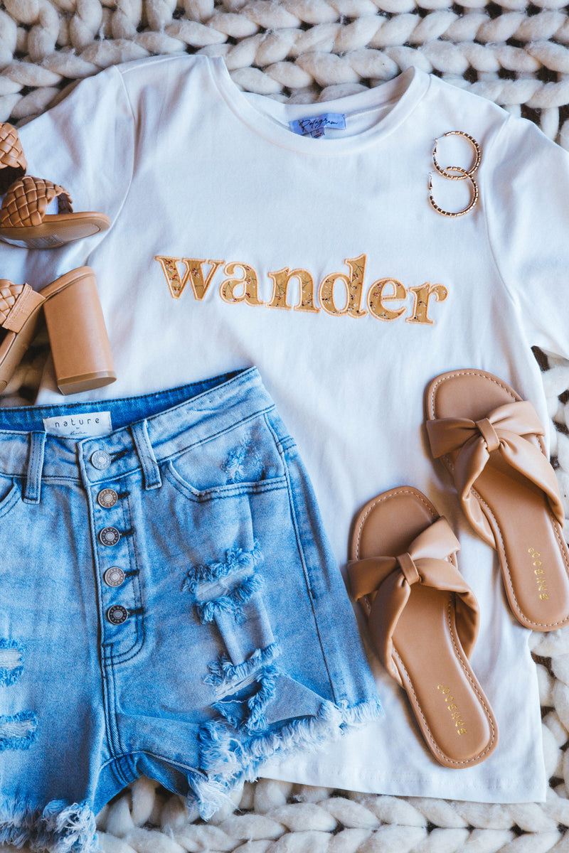 Wander Embroidered Contrast Print Graphic Tee, Ivory