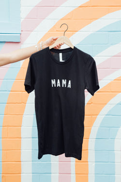 "Mama ""Raise Them Kind"" Graphic Tee, Black 