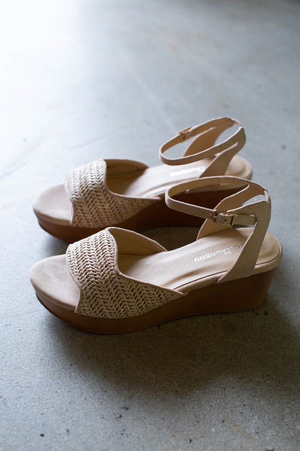 Charlise Raffia Platform Sandal, Nude | CL by Laundry