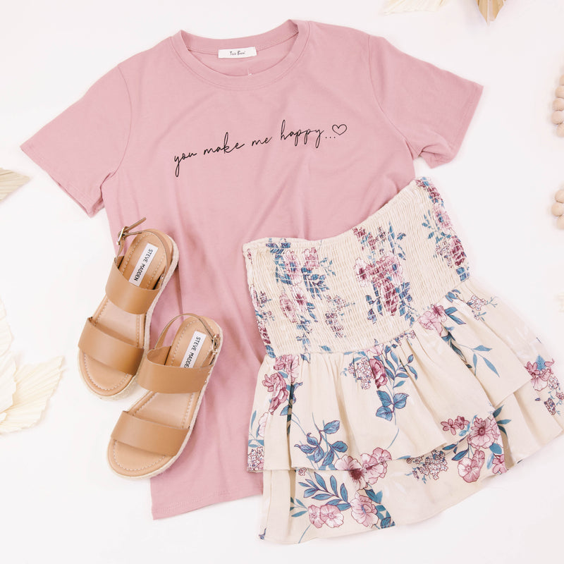 You Make Me Happy Graphic Tee, Dusty Rose