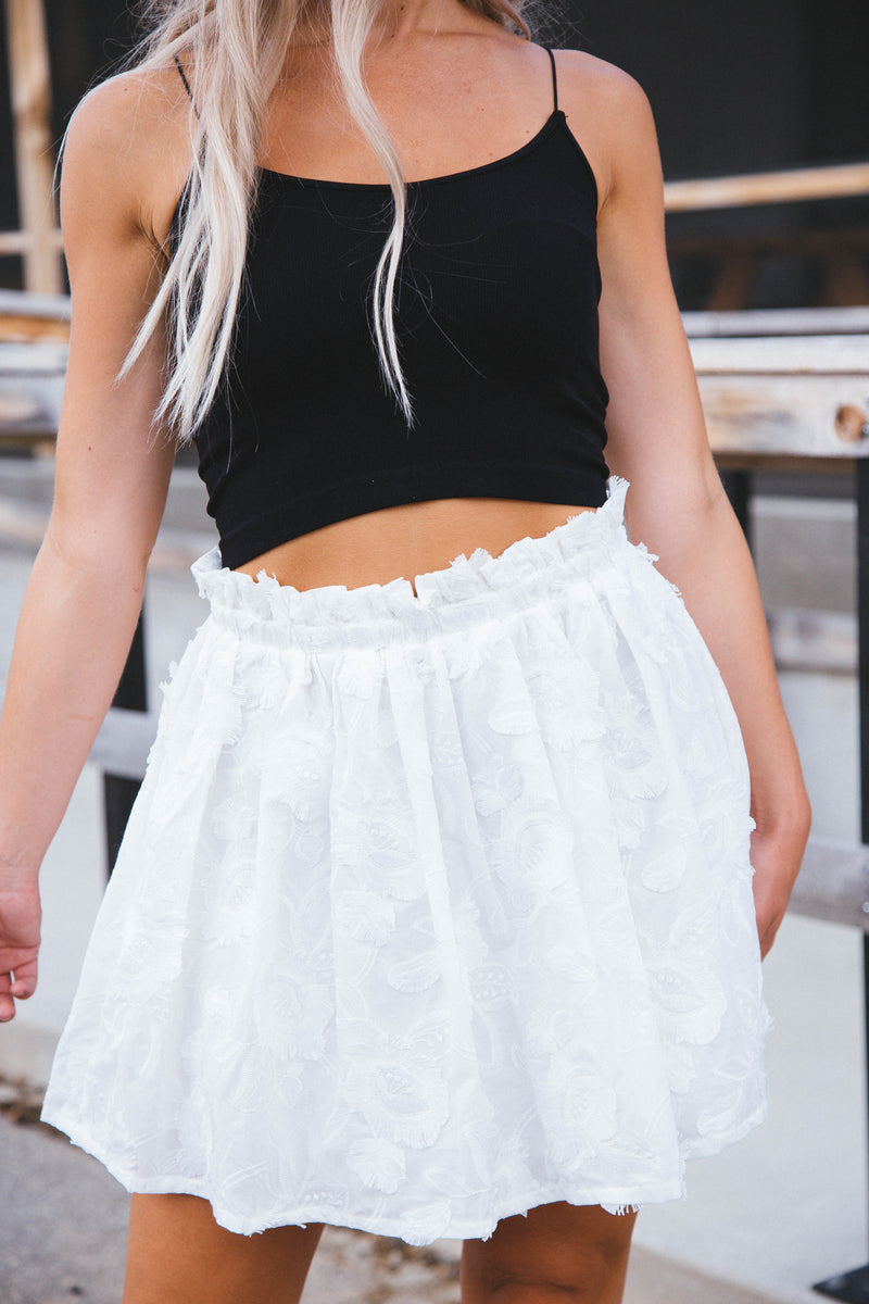 Tatianna Embroidered Skirt, Off White