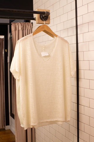 Beach Day Sweater Tee, Ivory | Plus Size
