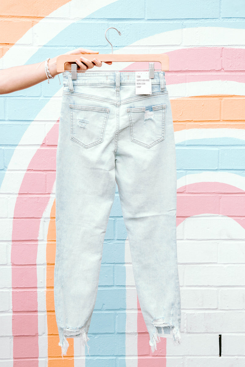 Tobi Super High Rise Mom Jeans Crop, Playing for Keep