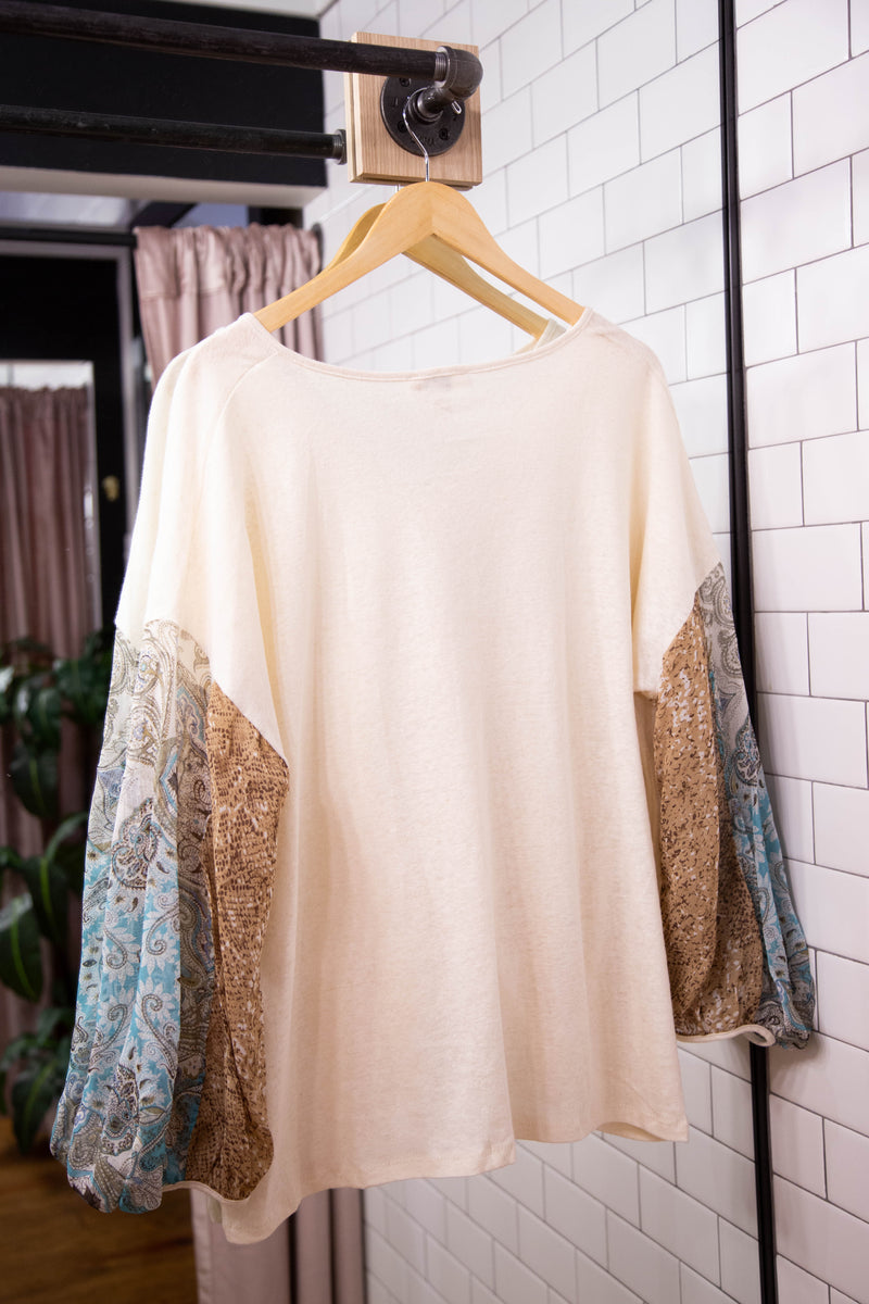 Meadow Chiffon Printed Top, Cream | Women's Plus Size Tops