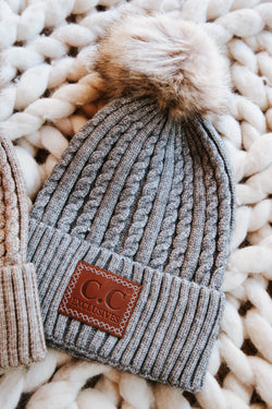 Carrabassett Double Braided Beanie, Light Grey