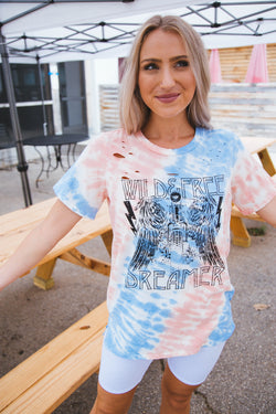 Wild & Free Dreamer Distressed Tee, Red/Blue