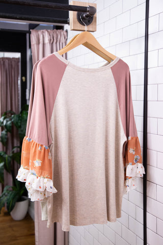 April Chiffon Top, Oatmeal
