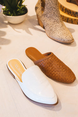 Freshest Low Heel Mule Slide, White Croc | CL by Laundry