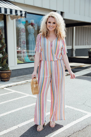Claire Striped Jumpsuit, Pink Multi | Plus Size