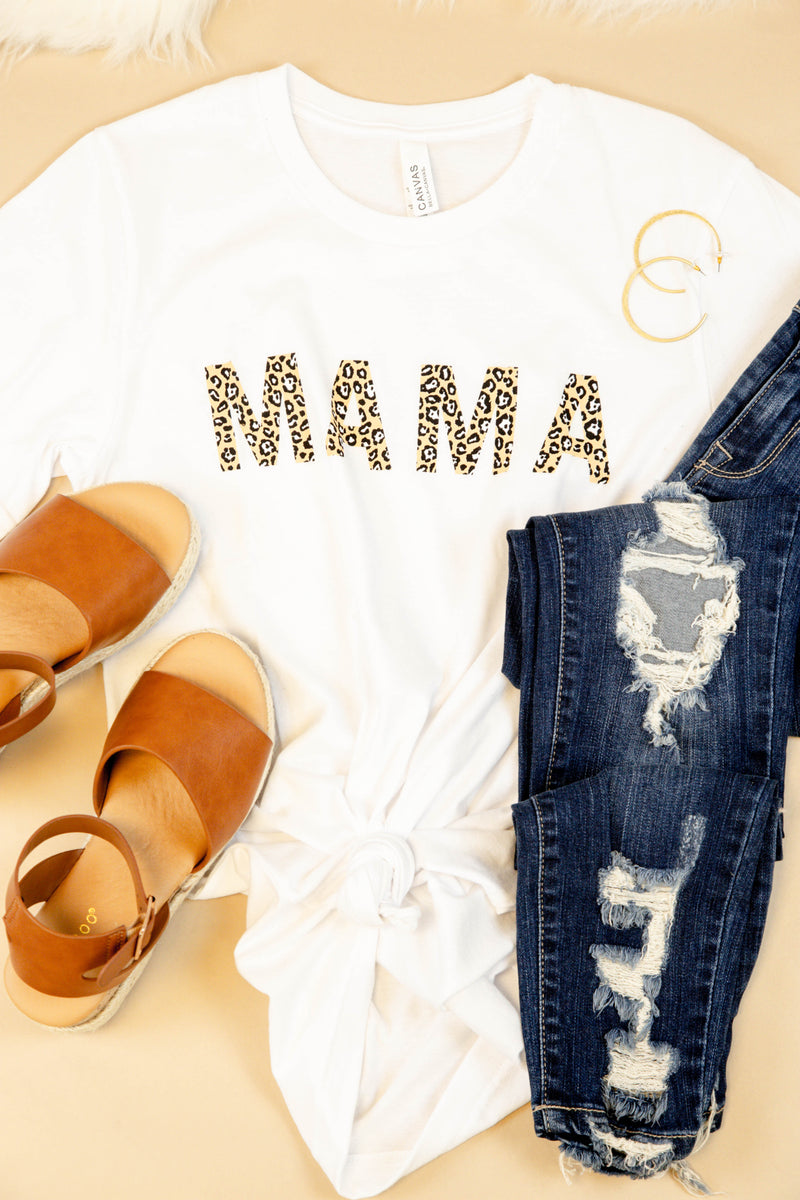 MAMA Leopard Lettering Graphic Tee, White | Extended Sizes