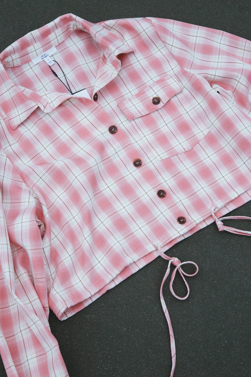 Farris Plaid Button Front Crop Top, Pink