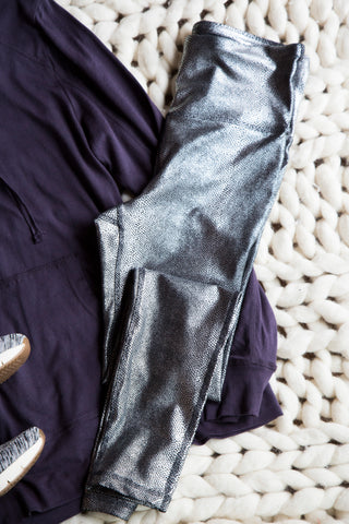 Highwaist Foil Full Leggings, Silver