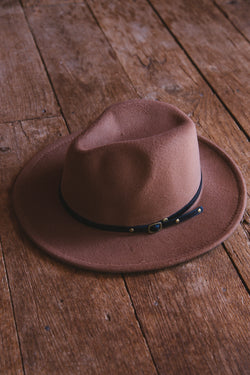 Arran Felt Fedora Hat, Brown