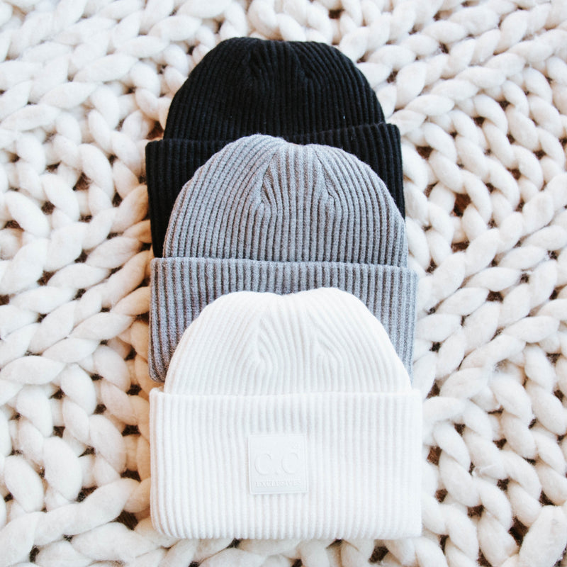 Tenney Ribbed Knit Beanie, Light Grey