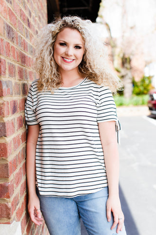Candace Striped Tie Sleeve Shirt, Ivory Stripe | Plus Size