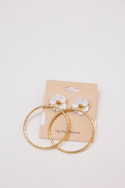 Faye Flower Hoop Earrings, Gold/White