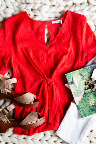 Lush Textured Top, Red