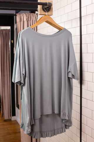With A Ruffle Tunic, Dusty Green | Women's Plus Size Summer Tops
