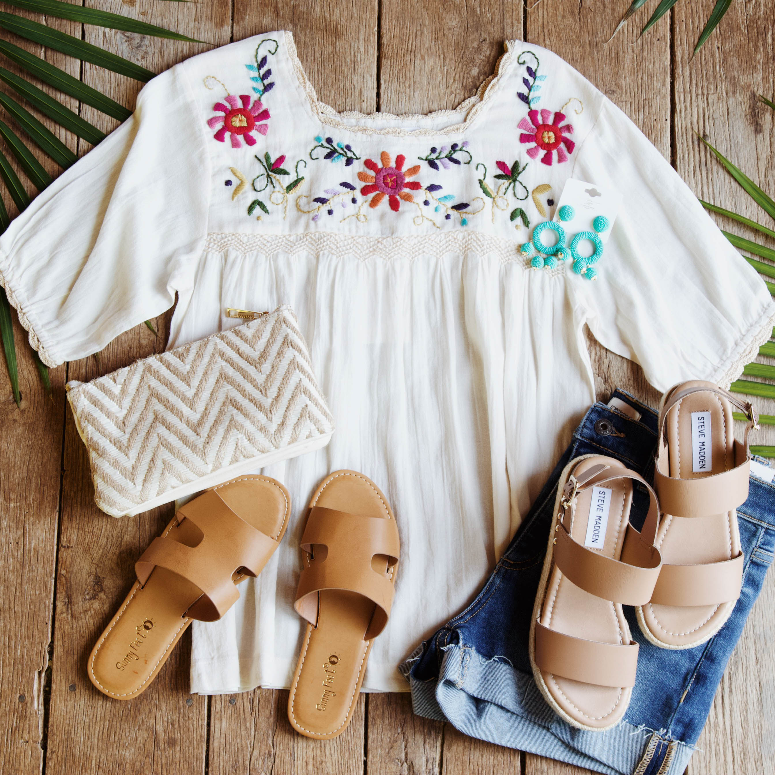 Floral Embroidered Blouse, Cream