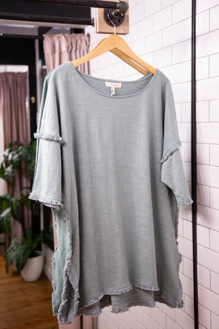 High Low Fringe Tunic, Dusty Mint