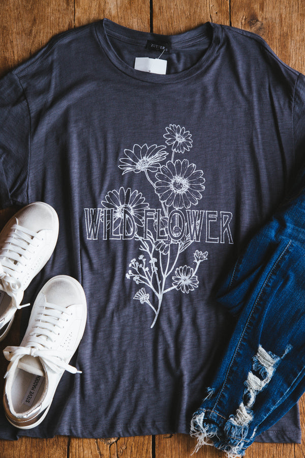Vintage Wildflower Graphic Tee, Charcoal