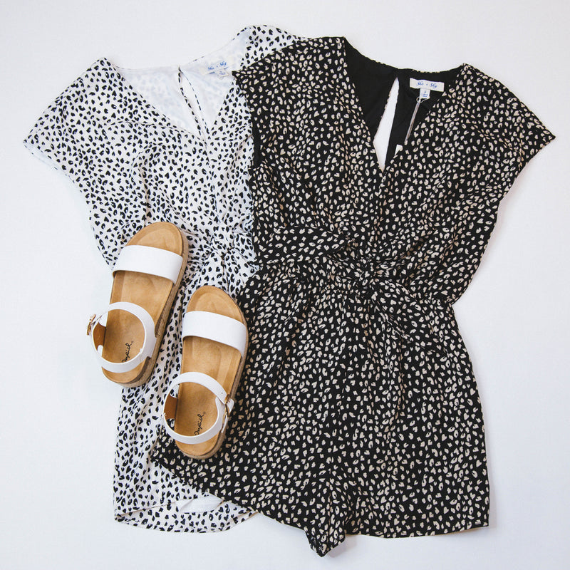 Think About Me Leopard Romper, Off White