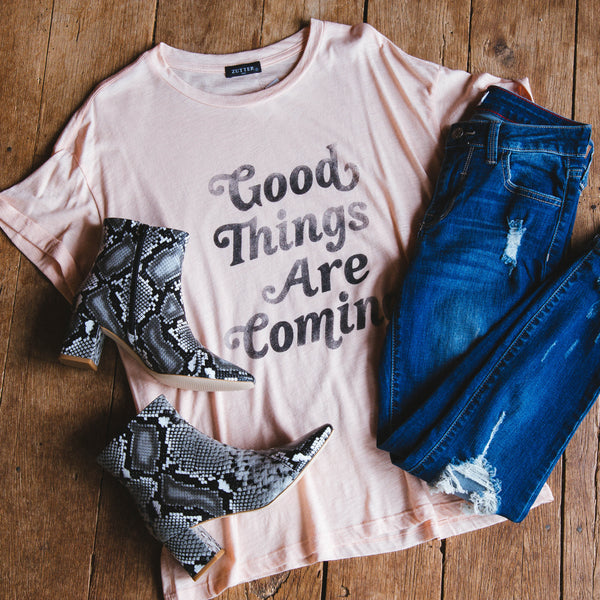 Good Things Are Coming Graphic Tee, Peach