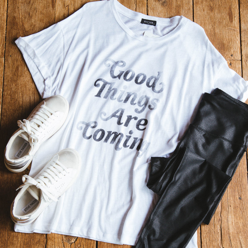 Good Things Are Coming Graphic Tee, White