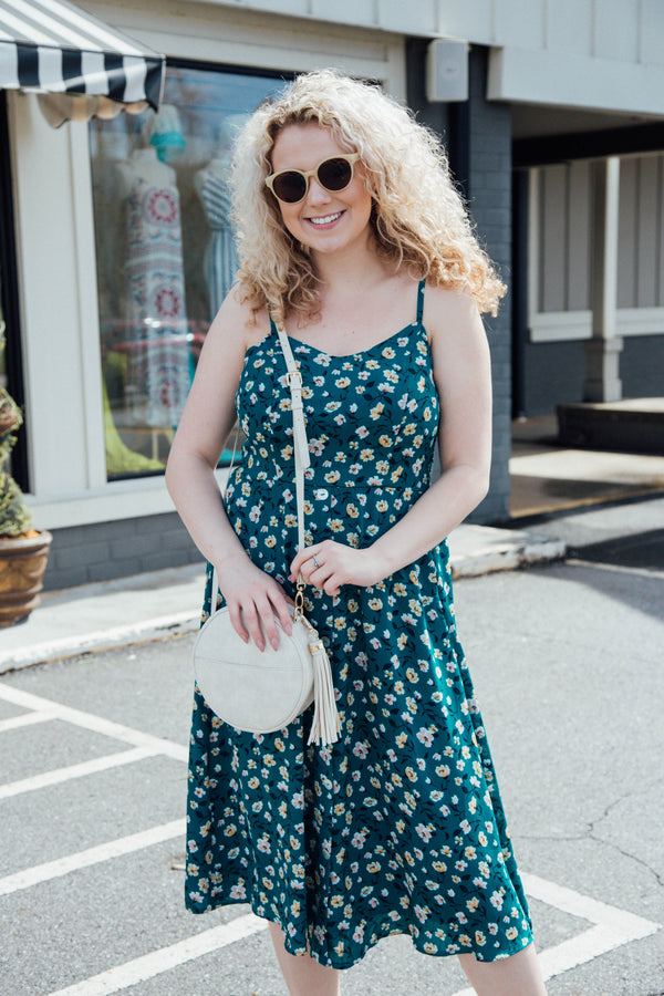 Flirt & Flare Floral Midi Dress, Teal | Women's Plus Size Dresses