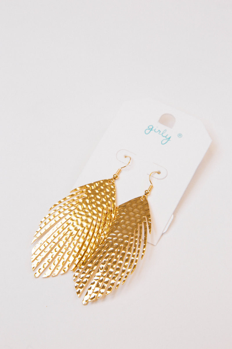 Metal Feather Earrings, Gold