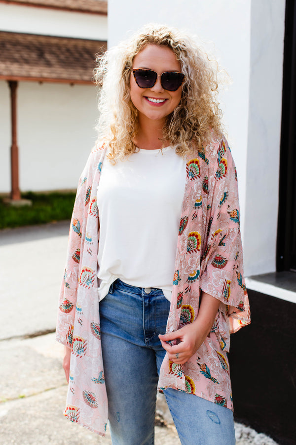 Peachy Dreams Floral Kimono, Blush | Plus Size